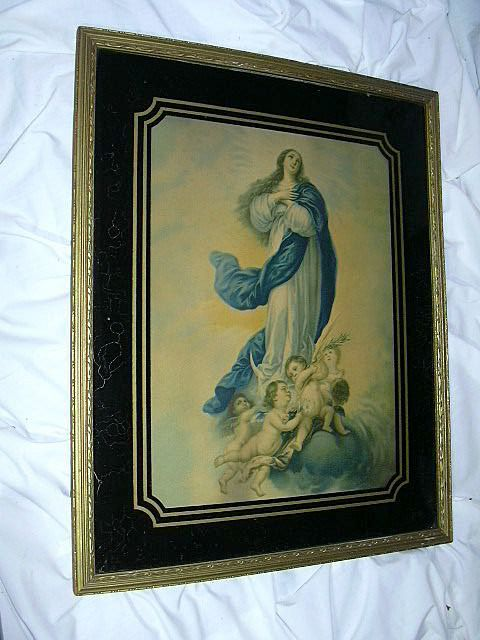 Immaculate Conception Virgin Mary Old Print With Reverse Painted Glass Frame Fine Catholic Art