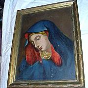 Virgin Mary Mater Dolorosa Old Original Painting