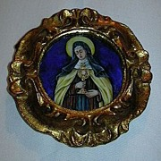 St Clare Of Assisi Hand Painted Miniature Porcelain 1931 Signed Dated Religious Art Poor Clares