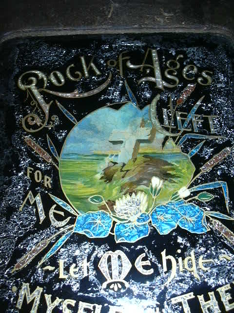 Old Rock Of Ages Reverse Painted Glass & Foil Original  Religious Art