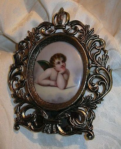 Hand Painted Cherub Angel Porcelain Framed Art