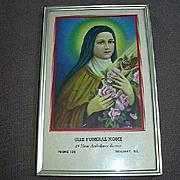 St Therese Theresa Of Lisieux Print 1950's Ridgway Illinois