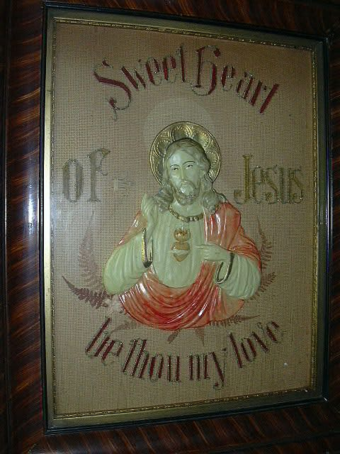 sacred heart  jesus antique german paper punch art  antiques jewelry sacred treasures