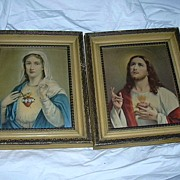 Pair Prints Jesus Sacred Heart Mary Immaculate Heart Religious Art