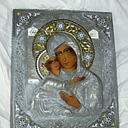 Large Icon With Metal Oklad & Enamel Halo