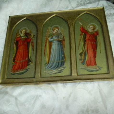 Old Trio Prints Florentine Angels Musicians Cathedral Frame