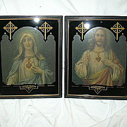 Jesus Sacred & Mary Immaculate Heart Art Deco Prints