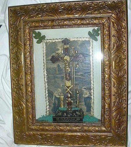Unusual Shadowbox Crucifix Scene With Print & Passion Instruments