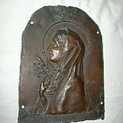 Old  Bronze Or Copper Signed Negroni French Plaque Virgin Mary