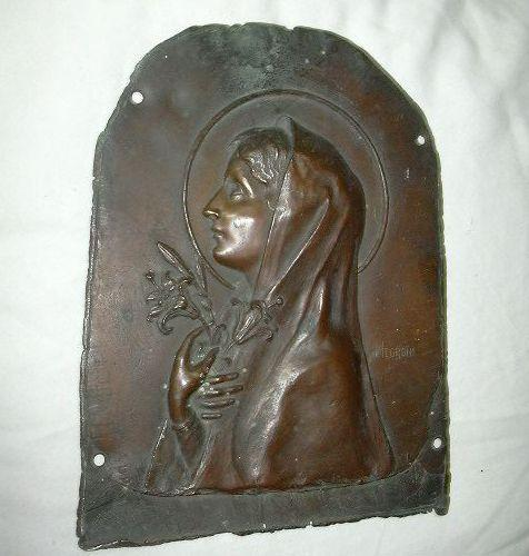 Old Bronze Or Copper Signed Negroni French Plaque Virgin Mary from ...