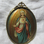 Old Celluloid Art Miniature Virgin Mary Original Metal Frame