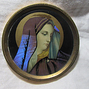 Old Butterfly Wing Virgin Mary Miniature Art Our Lady Of Sorrows Mater Dolorosa