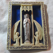 Old Blue White Plastic Virgin Mary Icon Plaque With Angels