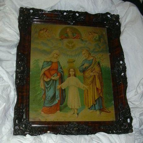 Old Holy Family Framed Religious Print Fine Carved Frame