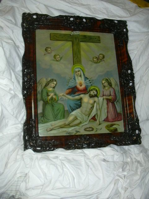 Virgin Mary Immaculate Heart Crucifixion Print Framed Religious Art
