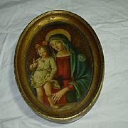 Old Florentine Madonna & Child Italian Or French Religious Art Cameo Icon