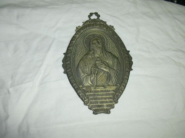 Old Jesus Sacred Heart House Blessing Art Plaque