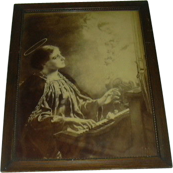 Saint Cecelia Old Signed Print Great Frame