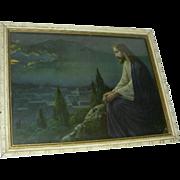 Jesus On Mountain Gethsemane Old Print