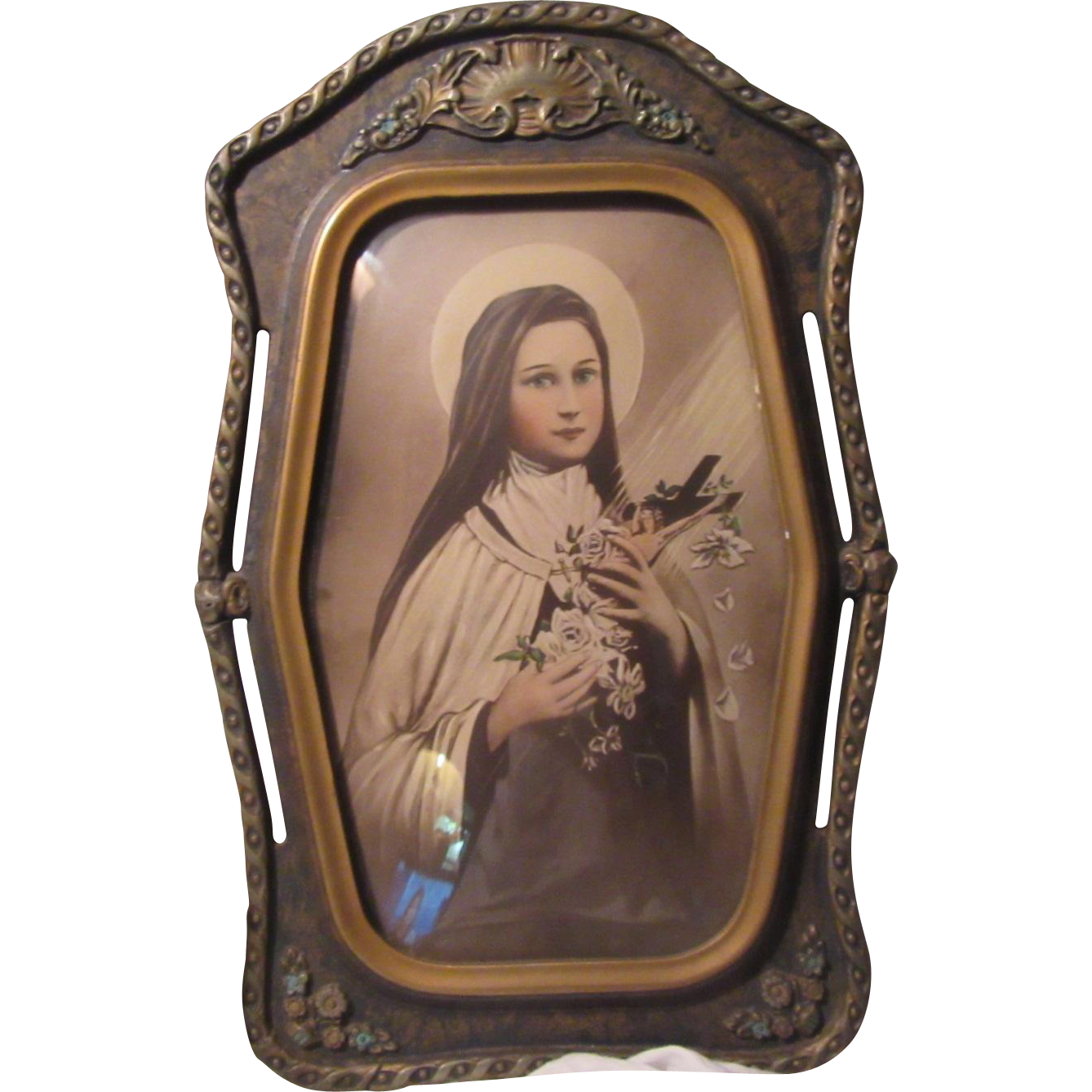 St Therese Theresa of the Little Flower Old Print Fabulous Original Frame Flower Accents Catholic Saing