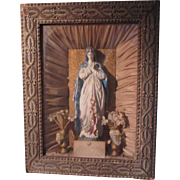 Virgin Mary Shadowbox Statue Home Altar Shrine To The Blessed Virgin