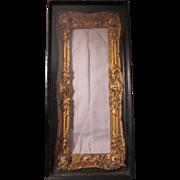 Old Shadowbox Frame Gold Gilt Ornate in Black wood Original Glass