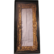 Old Shadowbox Frame Gold Gilt Ornate in Black wood Original Glass