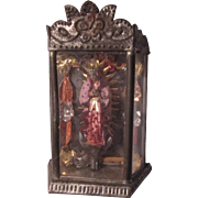 Old Mexico Santos Tin Shadowbox Altar Virgin Mary Our Lady Guadalupe