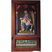 Old Viaticum Wall Altar Box Statue Pieta Hand Painted Glass Catholic Sacramental