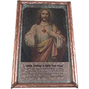 Jesus Sacred Heart Old Print Foil Frame Original Labels