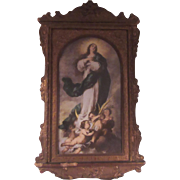 Assumption Annunciation Virgin Mary Old Print Original Carved Frame
