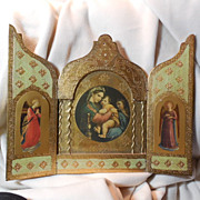 Italian Florentine Triptych Virgin Mary Infant Jesus Angels Large
