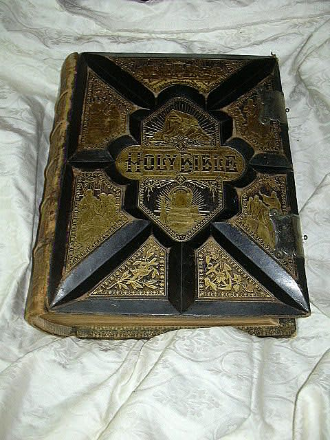 Antique Large Leather Family Bible Illustrated