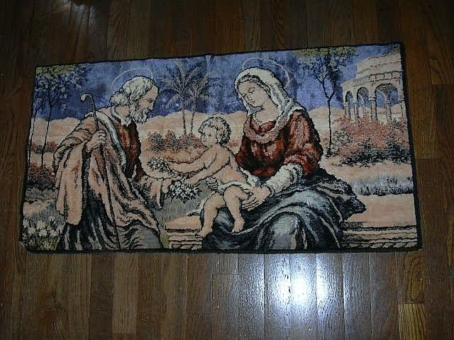 Holy Family Tapestry Prayer Rug Wall Hanging Religious Art