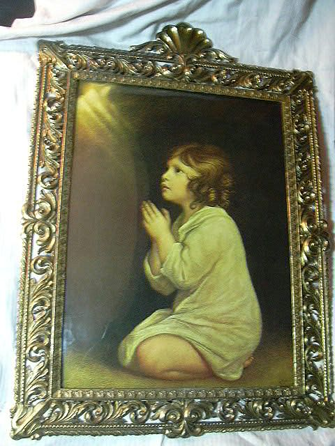 Praying Child Print Infant Samuel Under Bubble Glass