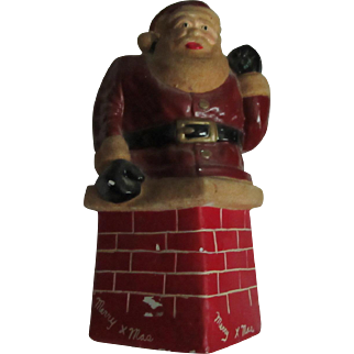 Old Santa Claus Saint Nicholas Bank Statue Christmas Figure