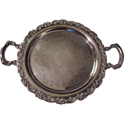 Oneida USA Old Round Fancy Heavy Silverplate Tray Ornate Silver