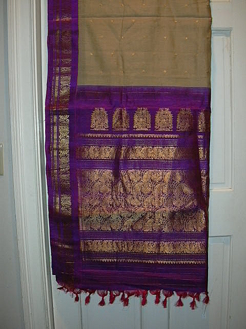 Vintage Indian Sari Honey Beige & Purple Ikat Fine Textiles Fabric of India