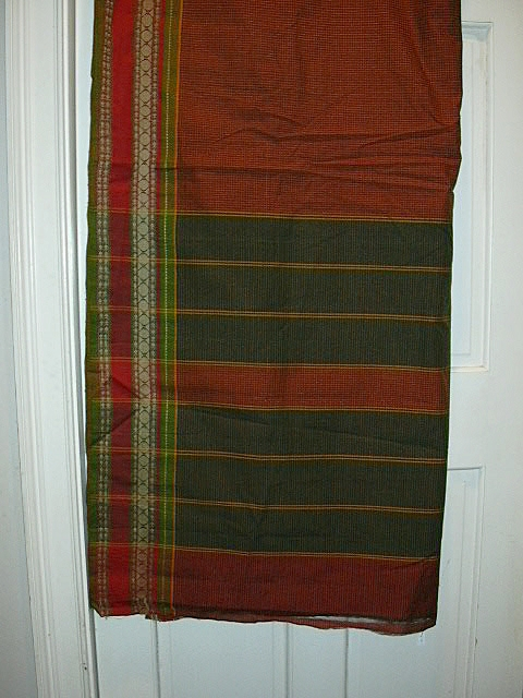 Vintage Indian Sari Maroon & Saffron Plaid Cotton Fine Textiles Fabric of India