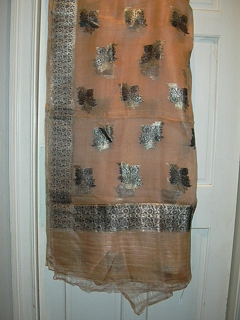Vintage Indian Sari Peach Silk Chiffon & Silver Fine Textiles Fabric of India