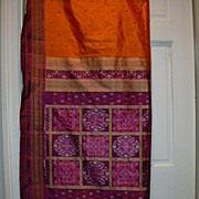 Vintage Indian Sari Orange Silk & Fuschia Ikat Fine Textiles Fabric of India