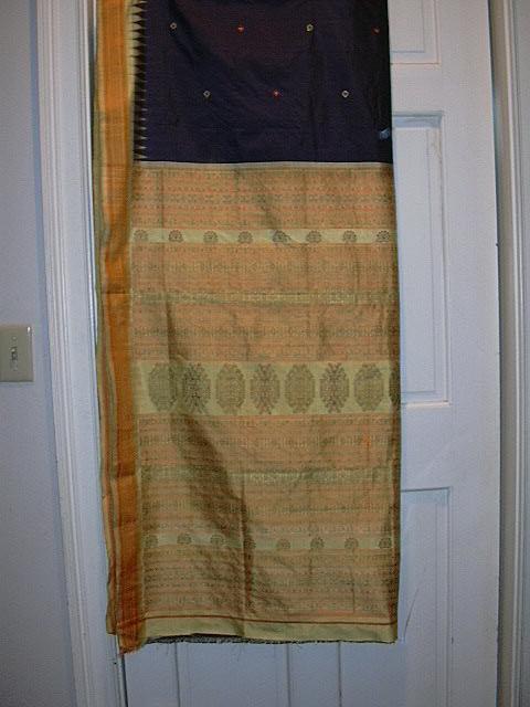 Vintage Indian Sari Navy & Yellow Orissa Silk Fine Textiles Fabric of India
