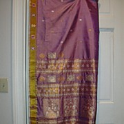 Vintage Indian Sari Lavender Silk Fine Textiles Fabric of India
