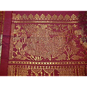 Deep Rose Red Silk Sari Gold Dancing Dakinis Fine Fabric of India