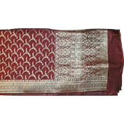 Cranberry Red Charmeuse Satin Pure Silk Sari With Silver Pallou and Border Fine Fabric India