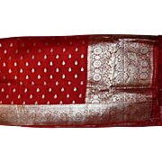 Red Silk Charmeuse Sari Silver Pallou and Borders Fine Fabric India