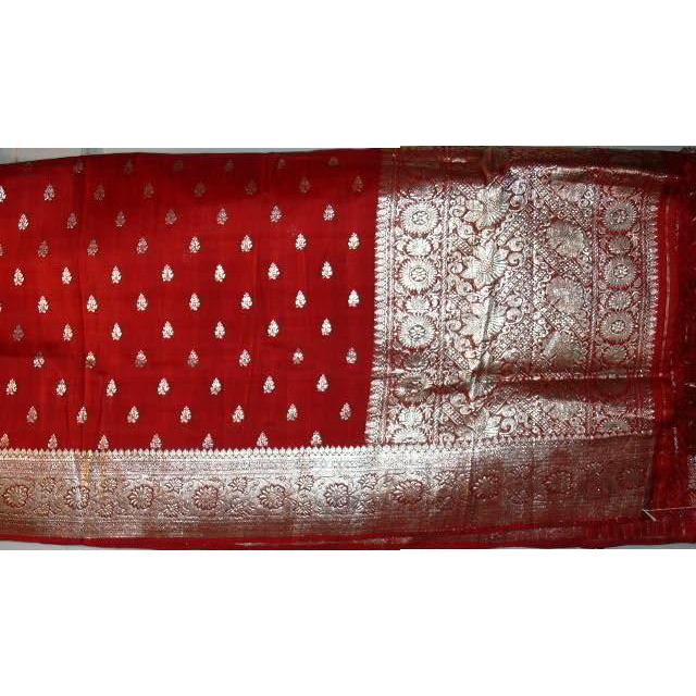 Red Silk Charmeuse Sari Silver Pallou and Borders Fine Fabric India