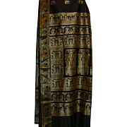 Black Pure Silk Sari With Gold Borders an Gold Figures of Middle Eastern Deities and Dakinis fine fabric India