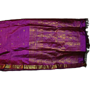 Violet Purple Pure Silk Sari Gold Borders and Designs Fine Fabric India