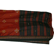 Brick Red Black Tan Cotton Sari Fabric India Hand Embroidery